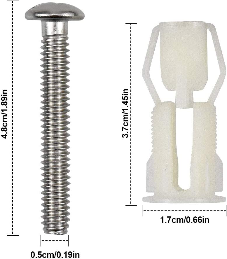 NATUCE 2pcs Toilet Top Cover Lid Seat Fixings Toilet Seat Hinges Screws WC Blind Hole Fitting Easy Installtion
