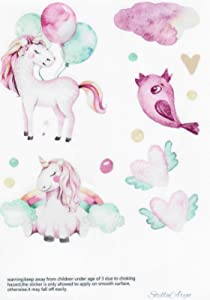 6 Sheets Unicorn Wall Decal, Removable Wall Vinyl Perfect for Girls Room Decor, Easy to Put Transfer Stickers for Nursery Decor