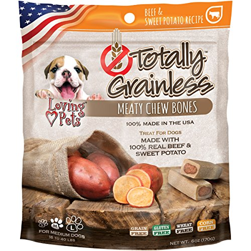 Loving Pets Totally Grainless Beef & Sweet Potato Recipe Meaty Chew Bones For Medium Dogs (1 Pack), 6 - Sweet Potato Loving Pets