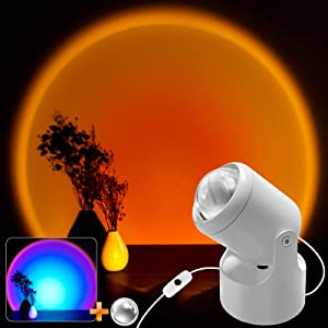 Sunset Projection Lamp, Sunset Lamp with Rainbow Lens, 2 in 1 USB 180 Degree Rotate Sunset Projector Lamp, Romantic Modern Sunset Light for Bedroom Wedding Garden Birthday Party Home Gift(Sunset Red)