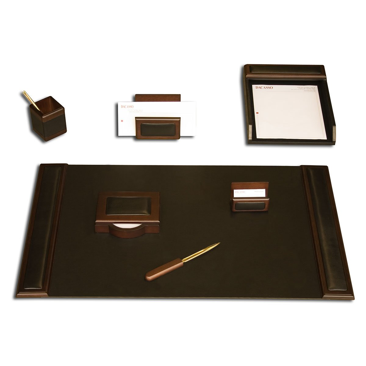 Dacasso Walnut and Leather Desk Set, 7-Piece
