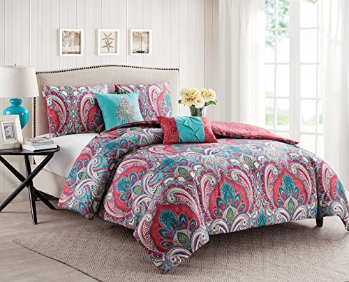VCNY Home Full/Queen Size Quilt Set in Multicolor Bohemian Style Paisley 5 Pc Set w/Decorative Pillows