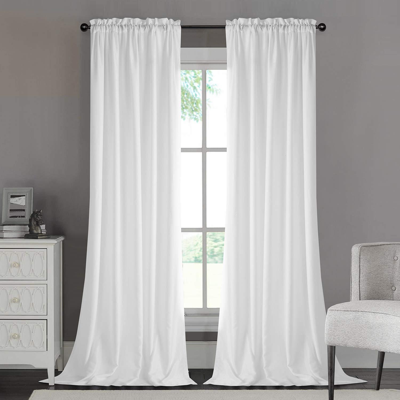 Dreaming Casa Silk Privacy White Semi Sheer Curtains, Rod Pocket Window Treatment 52'' W x 84'' L - Pair by Dreaming Casa