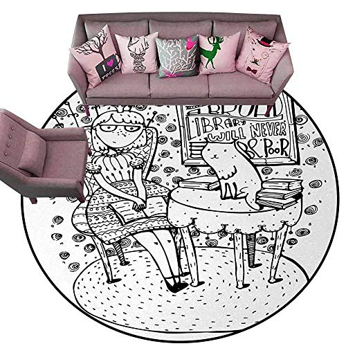 Front Mat Home Decorative Carpet Colorful Book,Cartoon Style Hand Drawn Girl Sitting with a Book and Cat Glasses Crown Happy Cat,Black White Diameter 72