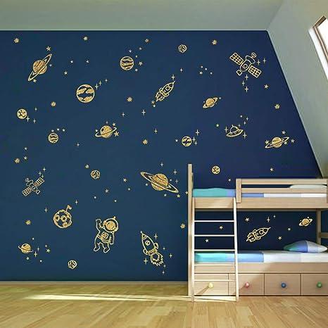 Vinilos Decorativos Planetas.Decalmile Pegatinas De Pared Planetas En El Espacio Vinilos Decorativos Estrella Cohete Astronauta Adhesivos Pared Habitacion Guarderia Ninos