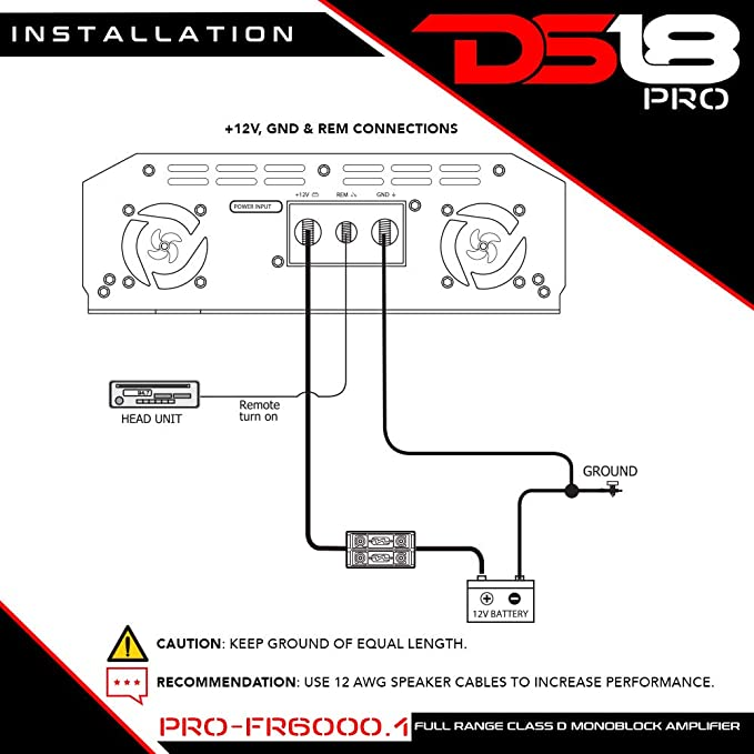 amazon com: ds18 pro-fr6000 1 6000 watts rms full range class d monoblock  amplifier: car electronics