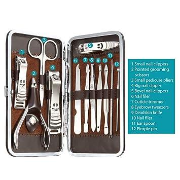 Abody - Lote de cortauñas y tijeras para manicura y pedicura (12 piezas) con estuche de piel marrón
