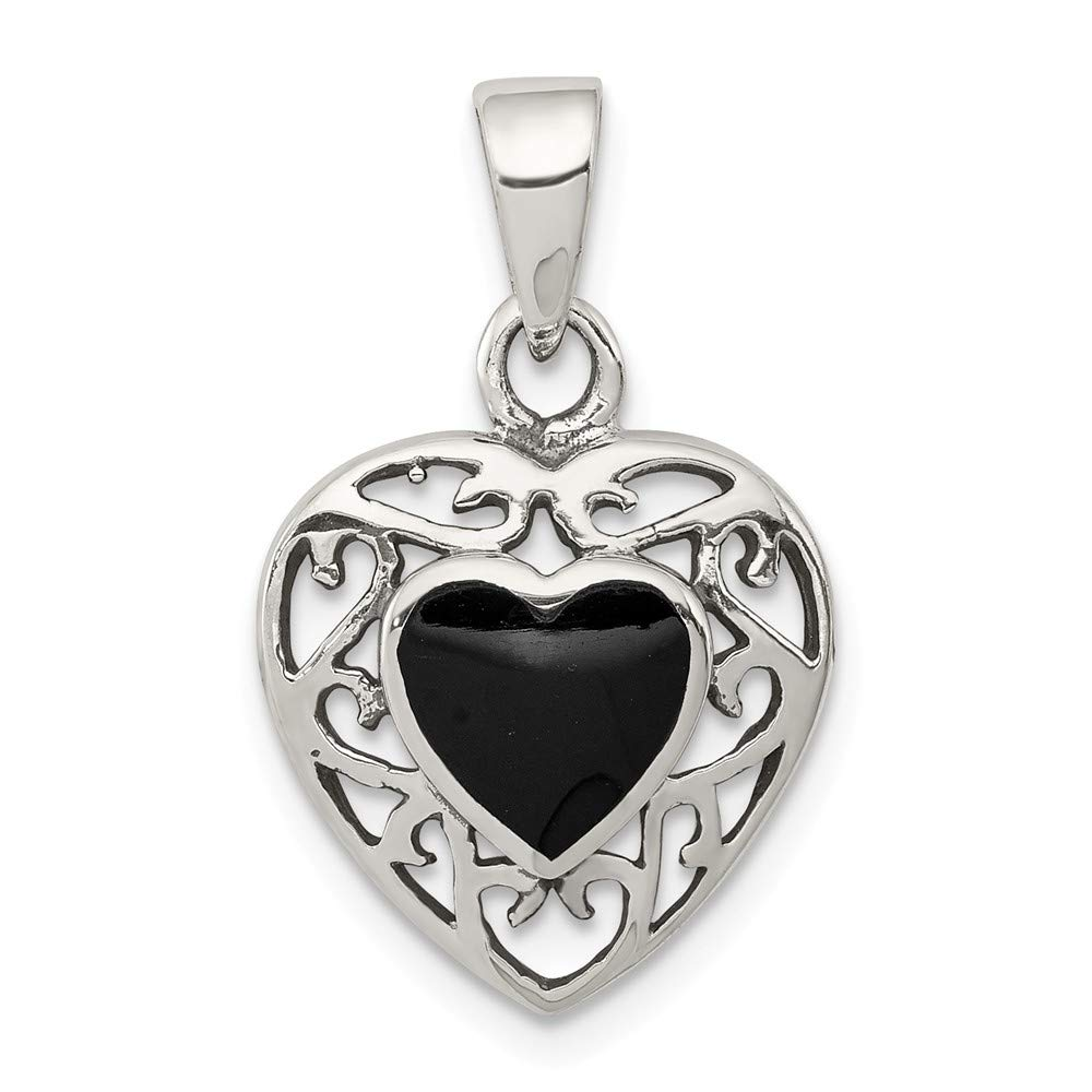 Sterling Silver Jewelry Pendants /& Charms Solid 14 mm 18 mm Onyx Heart Antiqued Pendant