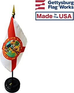 product image for 4x6 E-Gloss Florida Stick Flag with Plastic Table Base - Qty 12