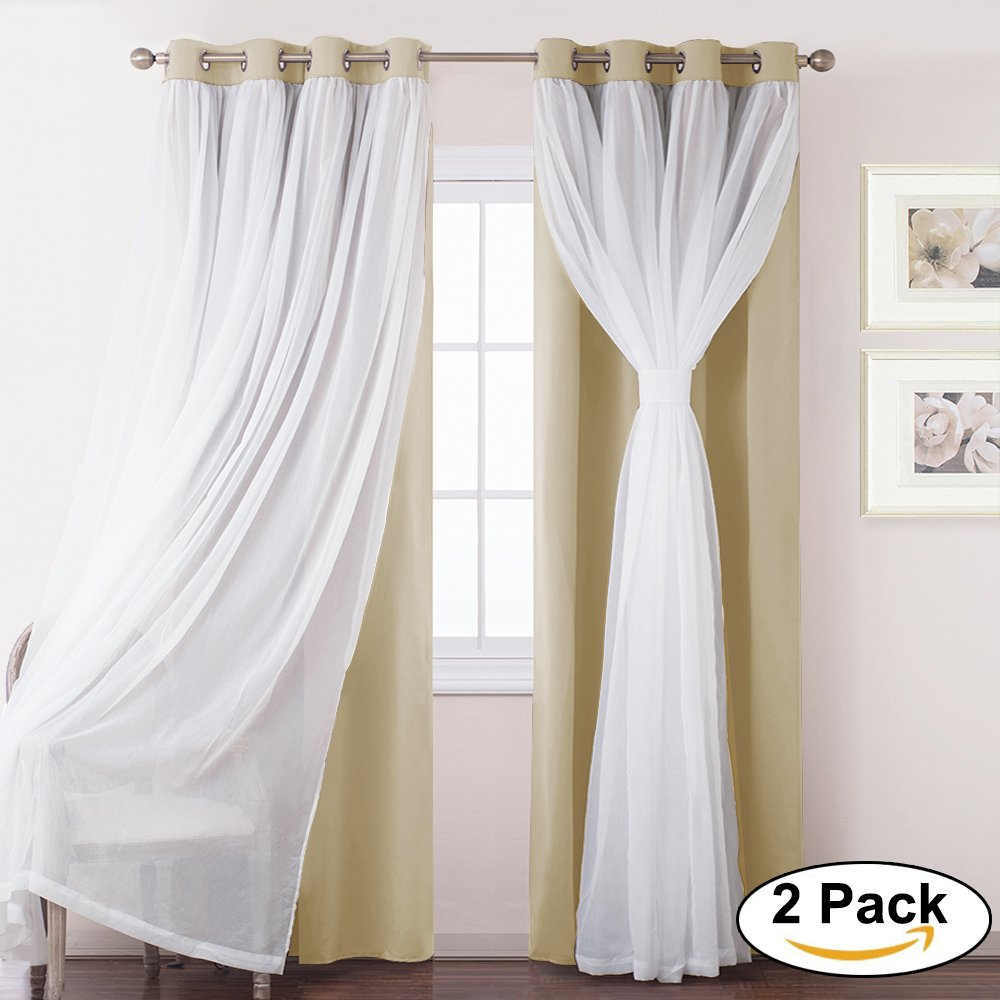 Mix & Match Voile x Blackout Curtains-PONY DANCE New Design Grommet Top Blackout Curtains for living Room/bedroom,52-inch by 95-inch,Beige,2 Panels