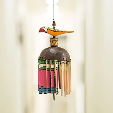 Exclusivelane Multicoloured Wooden Handmade & Hand-Painted Bird Wind Chime With Kutchh Bell - Wall Hanging Home Decorative Pieces Wall Decor Outdoor Décor Wind Chimes For Balcony Wooden Wind Chimes Wind Chimes For Home Decorative Hanging Door Hangings Decoration Stylish