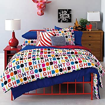 8 Piece Kids Multi Color Alphabet Printed Comforter Set King With Sheets,  Charming Text Printed