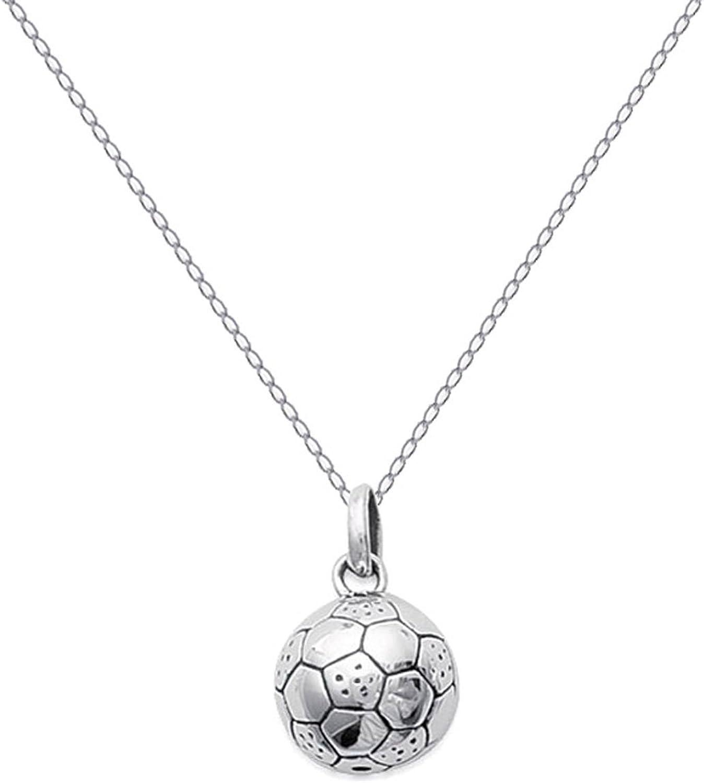 Colgante de balón de fútbol en plata 925 y cadena de 45 cm de ...