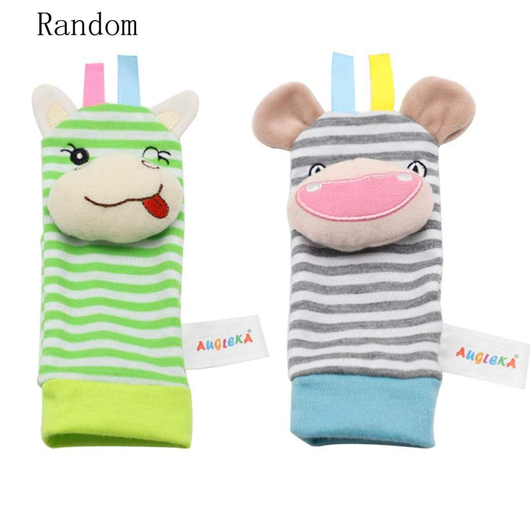 OYTRO Infant Baby Wrist Rattles Foot Socks Rattle Cute Animal Soft Toys Rattles