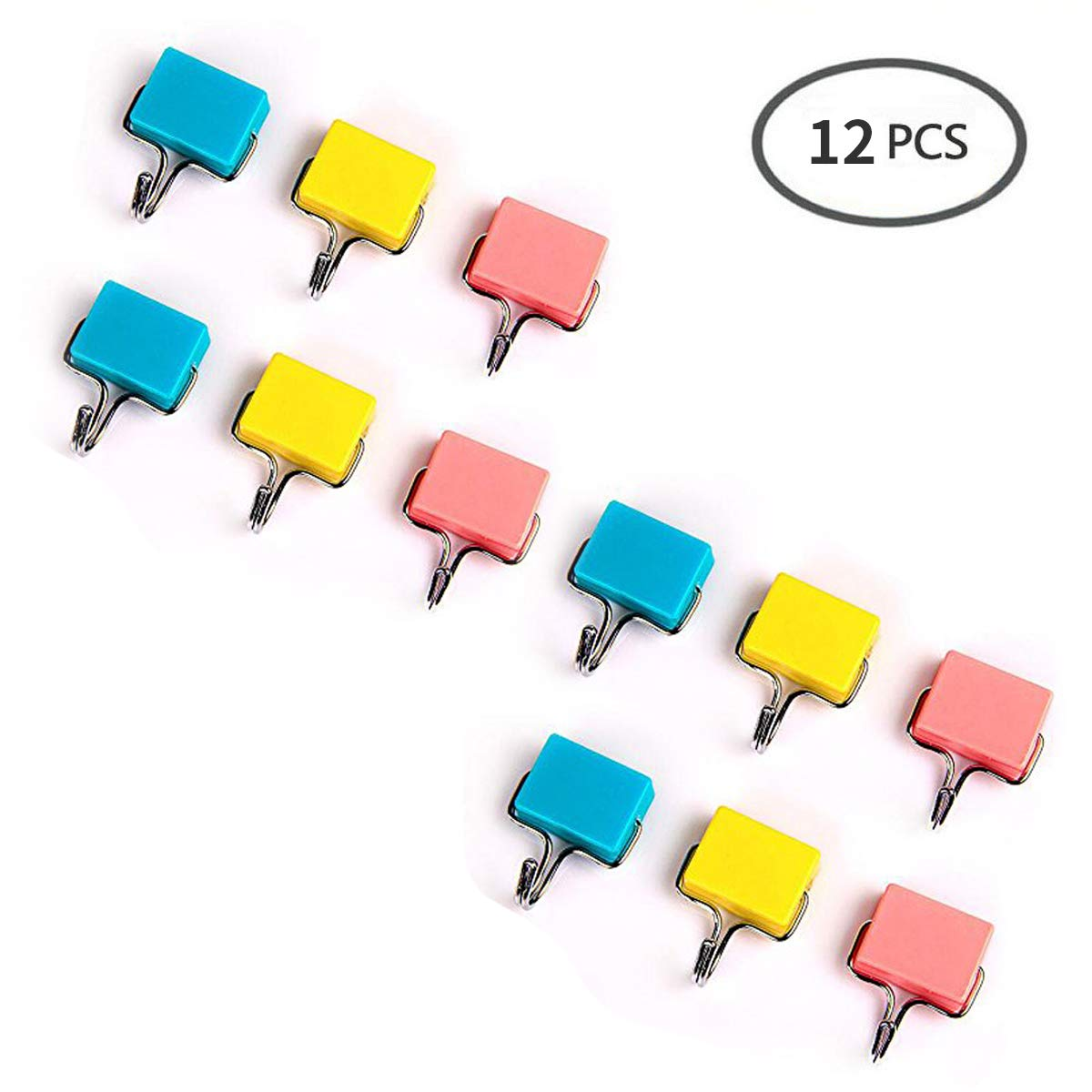 (12 Pcs)Neodymium Magnetic Hooks, Refrigerator Magnets Creative Magnetic Hooks, Super Strong Magnetic Hooks, Colorful Magnetic Hooks, Powerful Creative Tools for Home Kitchen Workplace Office Garage