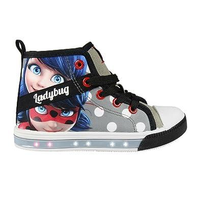 Cerdá Zapatillas con Luces Ladybug - Bambas de Lona con Luz Prodigiosa. Color Gris-