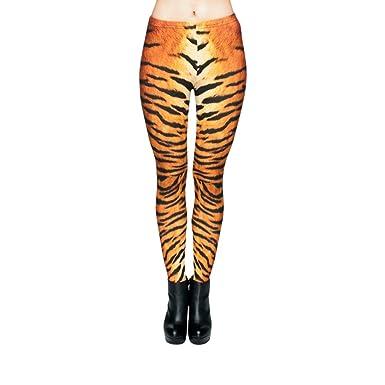 afc369ffa7369b Hanessa Frauen Leggins Bedruckte Leggings Hose Frühling Sommer Kleidung  Tiger-Fell L105