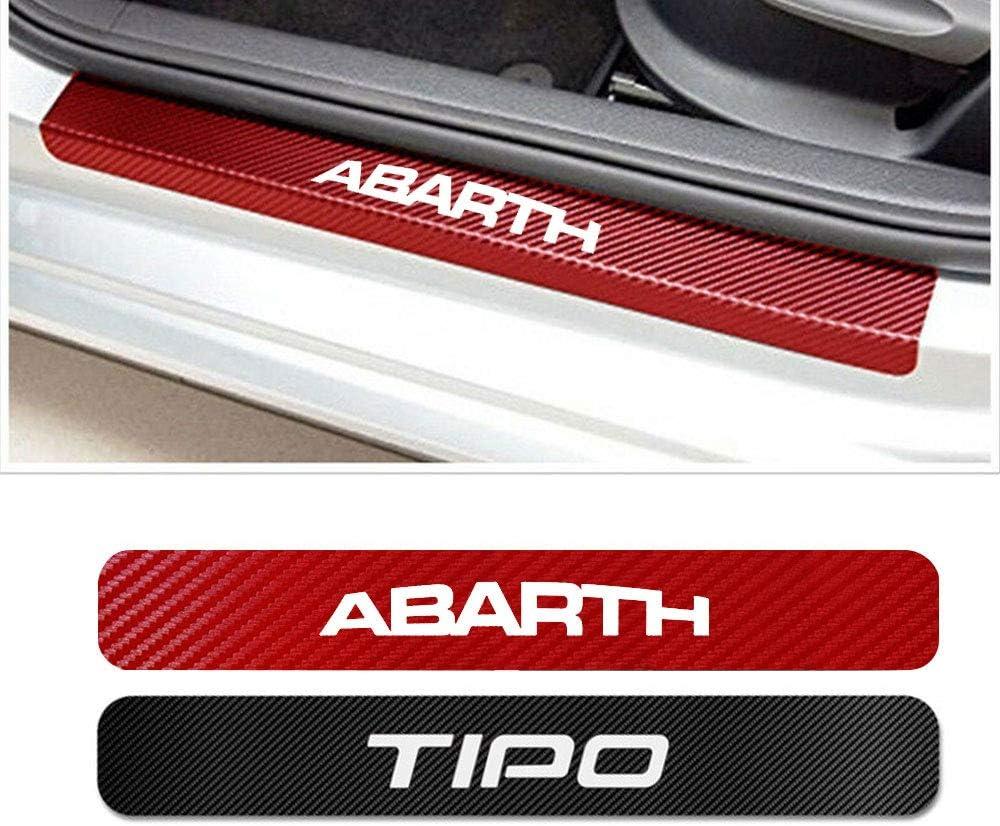 SENYAZON Car Threshold Pedal Sticker for Dodge Journey Decoration Scuff Plate Carbon Fibre Vinyl Sticker Car Accessories car-Styling Red