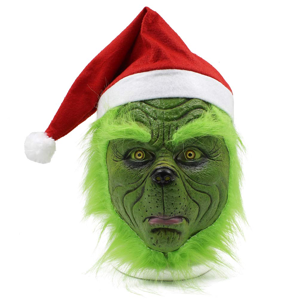 Grinch Christmas Latex Party Mask Costume Props Grinch Head Mask with Christmas Hat for Adult