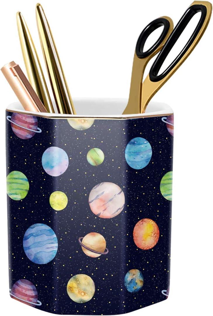 WAVEYU Pens Holder for Kids, Organizer Decor for Desk Pencil Holder Cup for Boys Kids Durable Ceramic Desk Organizer Makeup Brush Holder Ideal Gift for Office, Classroom, Home, Colorful Planet
