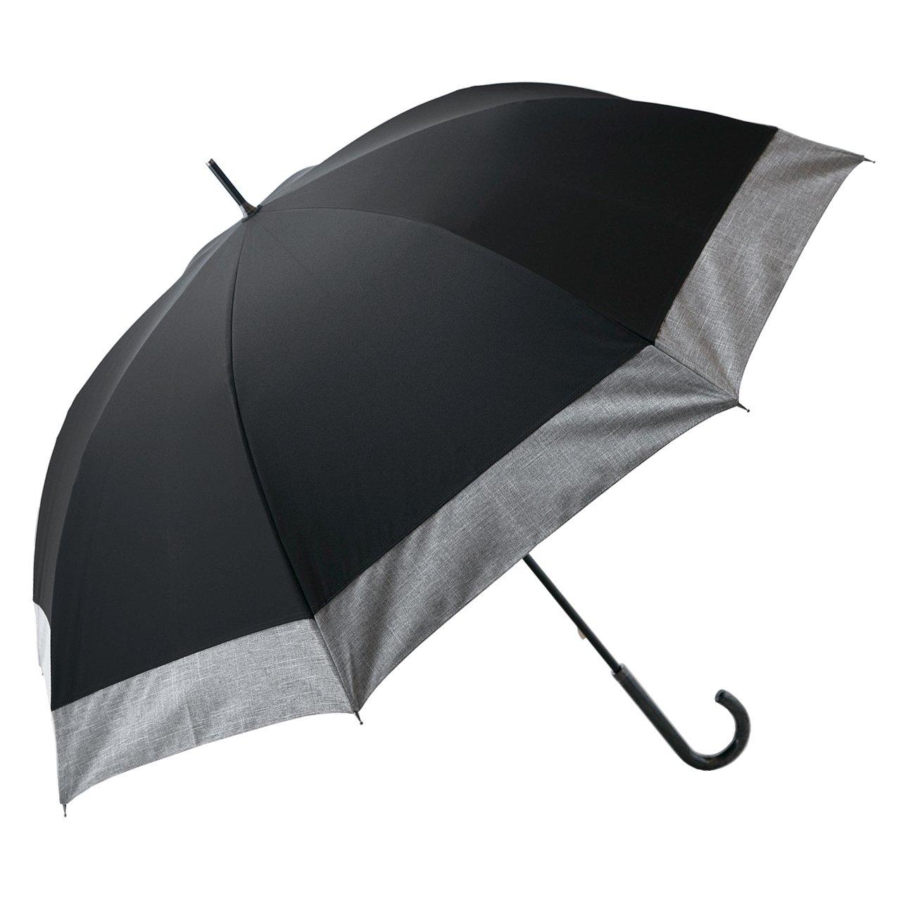 【Rose Blanc】100%完全遮光 日傘 コンビ 男女兼用 メンズサイズ ダンガリー 65cm (ブラック×ダンガリーグレー) B01F1SKKUK ブラック×ダンガリーグレー ブラック×ダンガリーグレー