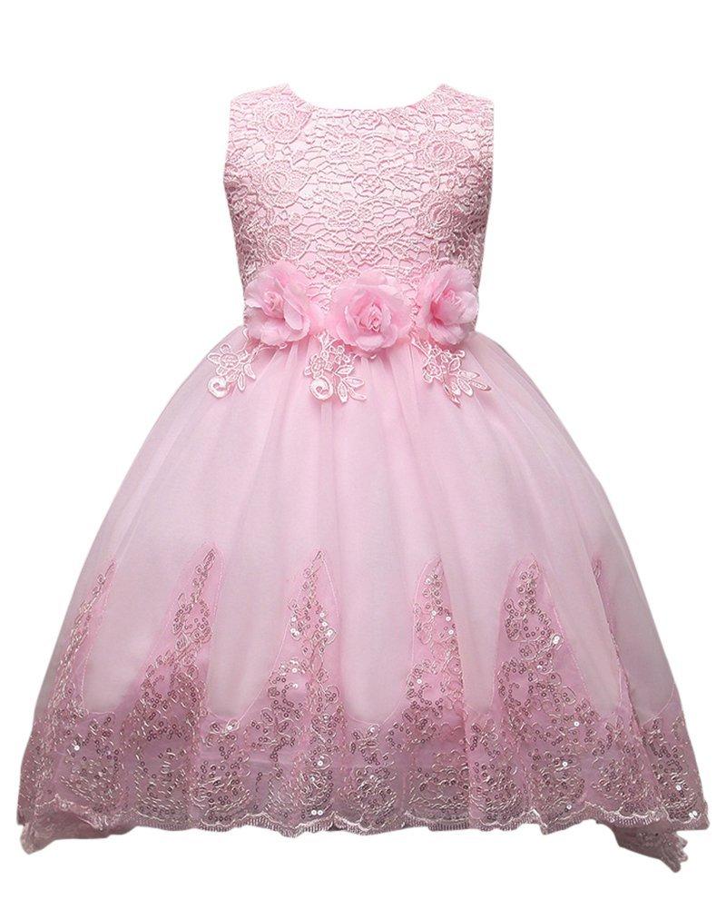 Moollyfox Niña Vestido Flor para Partido Boda Sin Mangas Encaje Vestido de Princesa