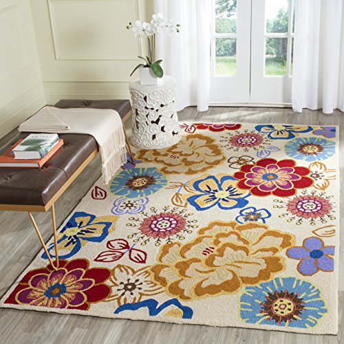 Hooked Rectangle Rug - Safavieh Four Seasons Collection FRS467B Hand-Hooked Ivory and Multi Indoor/Outdoor Area Rug (3'6
