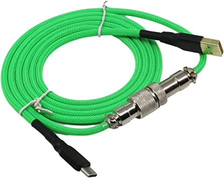 Amazon Com Geekbro Type C Usb Cable For Mechanical Keyboard Coated Aviator Connector 1 5m Length Durable Nylon Braided Cord Green Computers Accessories