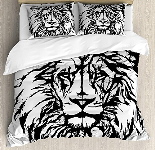 Savannah Four Light Bath - Lion Duvet Cover Set Full Sketch Art of African Safari Animal King of the Jungle Savannah Wildlife Bedding Set 4 Piece Lightweight Bed Comforter Covers Includes 2 Pillow Shams Black White Pale Grey