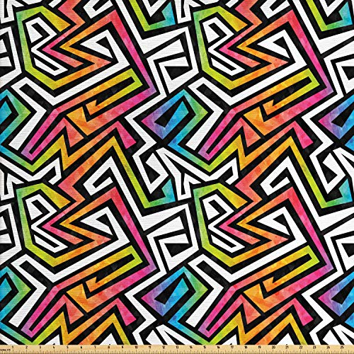 Ambesonne Geometric Fabric by The Yard, Graffiti Maze Grunge Puzzle Vintage Fashion Feminine Wild Modern, Decorative Fabric for Upholstery and Home Accents, 2 Yards, Multicolor