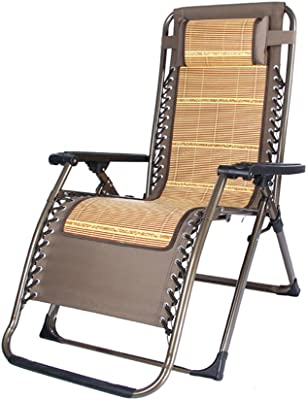 ZUOANCHEN Chair Zero Gravity Reclining Elderly Chair Napping Chair, Leisure Chair, Bamboo Chair Outdoor Garden Patio Chair Lazy Bed Happy Portable Cool Pad Support Multifunction With Headrest