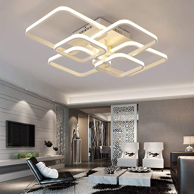 Amazon.com: Modern Dimmable Ceiling Light White Aluminum LED ...