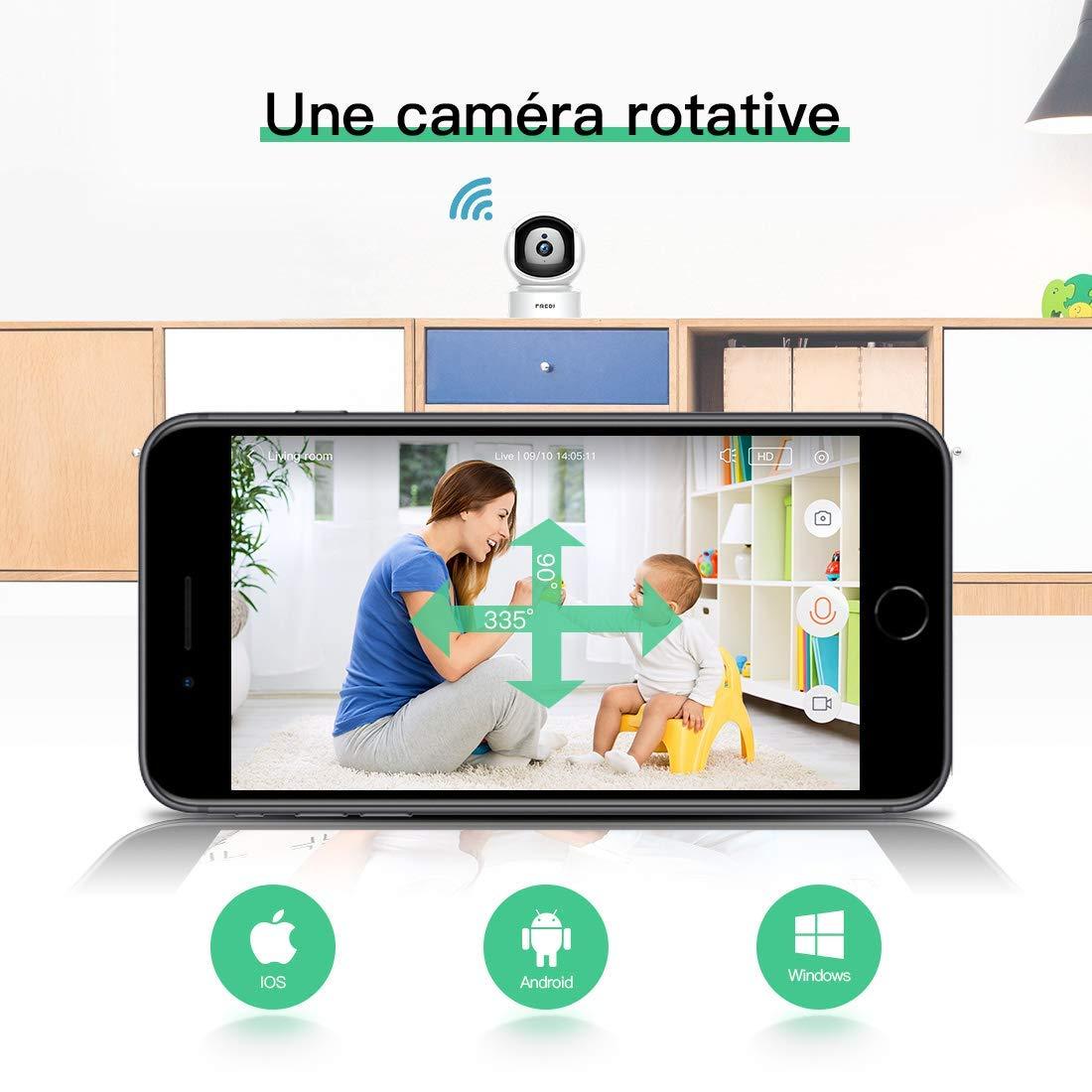 Pas Nouvelle WiFi sans Fil Cam/éra de Surveillance,1080P IP Camera S/écurit/é avec Vision Nocturne Motion Detection Systeme pour Maison Bureau