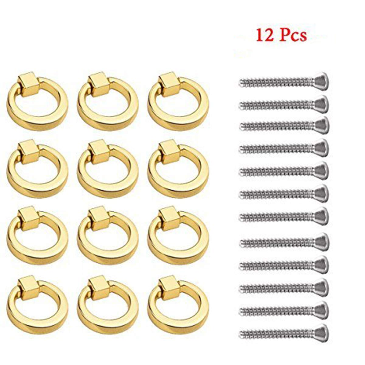 Modern Simplicity Ring Handle Zinc Alloy Single Hole Drawers Handle Jewelry Box Knobs Dressing Table Handle 12Pcs (Gold)