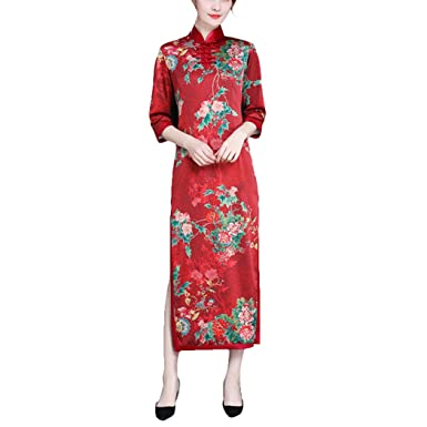 b7275d378fd79 VENI MASEE Women s Slim Printed High Split Traditional Vintage 3 4 Sleeve  Plus Size Qipao