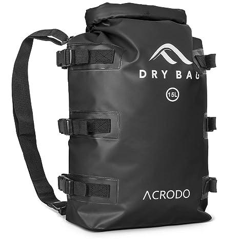 d2037be00c Acrodo Dry Bag Patented Waterproof Backpack - Black 15 Liter Floating Sack  for Beach