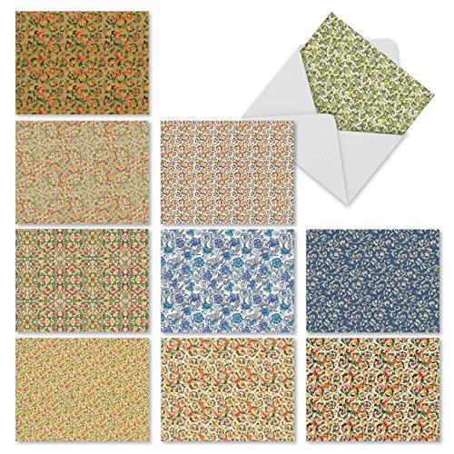 """10 Floral Pattern Note Cards (with Envelopes), 'Florentine Florals' Stationery Set for All Occasions, Assorted Blank Greeting Cards for Weddings, Baby Showers, Thank You (4"""" x 5 ¼"""") #M9648OCB"""