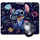 Mouse Pad Disney Alien Galaxy Blue Planet Earth Lilo Stitch Mousepad Non-Slip Rubber Funny Cute Mat for Gaming and Gift