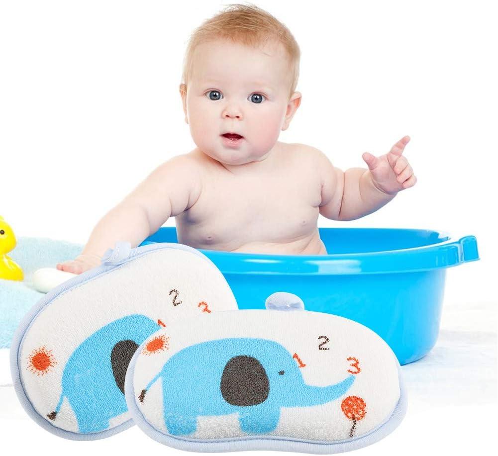 B Spugna da bagno per bambini spugnetta da bagno in cotone naturale con motivo elefante in cotone naturale Spugna morbida Scrubber Spugna mare naturale assorbente ipoallergenica per bambino neonato