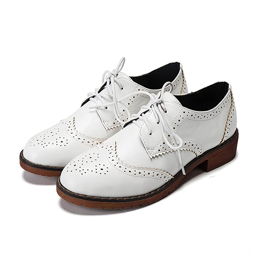 1940s Style Wedding Dresses | Classic Wedding Dresses Meeshine Womens Perforated Lace-up Wingtip Leather Flat Oxfords Vintage Oxford Shoes Brogues $27.99 AT vintagedancer.com