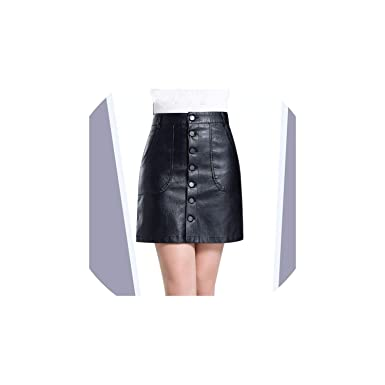 fba370382524f1 High Waist Leather Skirt PU Pockets Button Mini A Line Skirts Plus Size at  Amazon Women's Clothing store: