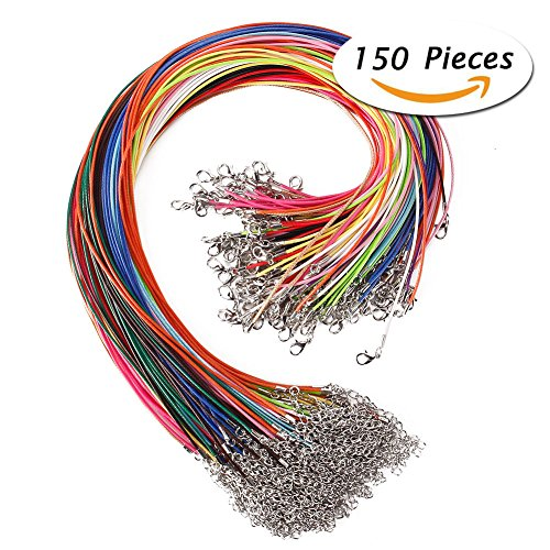 KeyZone 150 Pcs 18 Inches 1.5mm Waxed Necklace Cord with Lobster Clasp for Jewelry Making,Mixed (Yellow Wax Cord Bracelet)