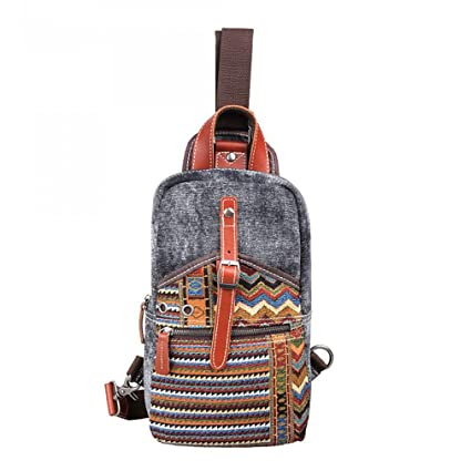 63191ed7bd2f Amazon.com : KIOESLKC Canvas Man Women Sling Bag Chest Pack ...
