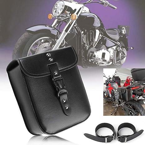 1 X Motorrad Kleine Seite Satteltasche Pu Leder Wasserdicht Motorrad Tankrucksack Seitengepäck Schwarz Auto