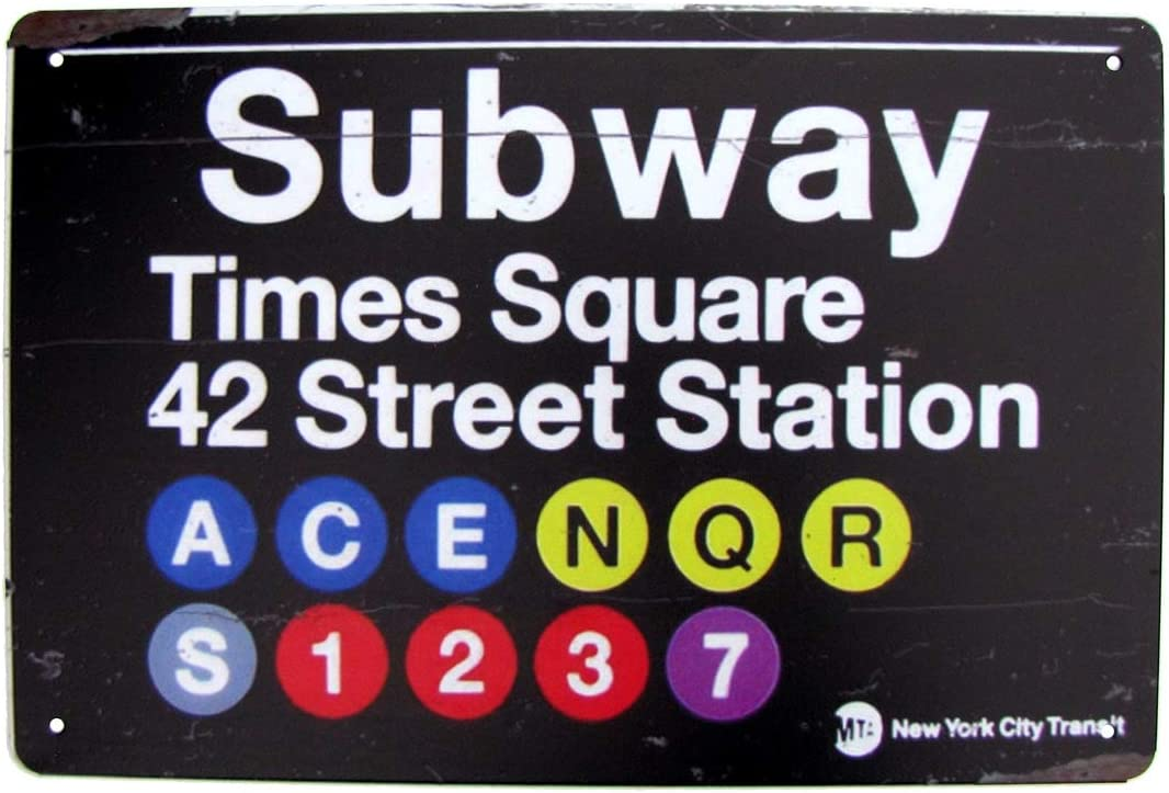 TG,LLC Treasure Gurus Retro Metal NYC Subway Times Square Sign New York City Man Cave Home Bar Pub Wall Decor