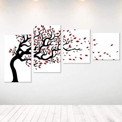 Quadri Astratti Moderni Dipinti A Mano Su Tela Canvas Quadro Bianco Nero Rosso Albero Per Soggiorno Arredo Casa Design Moderno Amazon It Handmade