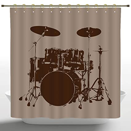 Fancy Shower Curtain By IPrintMusic DecorGrunge Drum Kit For Bass Rythm Lovers