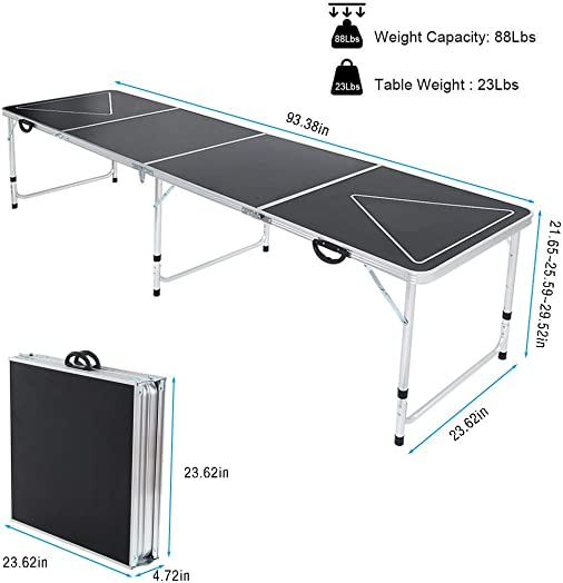uublik 8 Foot Portable Premium Outdoor Folding Table,Foldable with Adjustable Height Beer Table,Easy to Remove Black