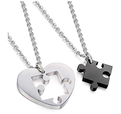 741c90295f9d Urbanstyles – Pareja de collares de acero inoxidable – Cadenas con colgante  para él y ella, para enamorados – corazón / puzzle