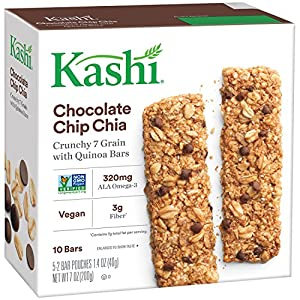 Kashi Crunchy Chia Bar, Chocolate Chip, 5-2 Bar pouches Net WT. 7 oz